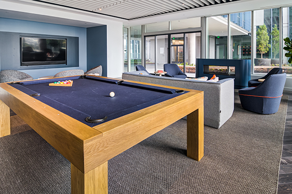 Pool table in 6th floor lounge of 5 MLK Office Building